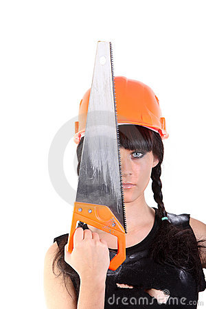 Girl in hard hat close half face by saw