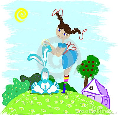 Girl and hare