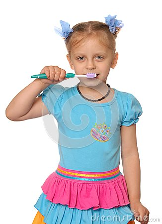 Girl has control over a tooth-brush