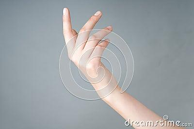 Girl has open hand