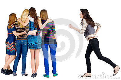 Girl hastens to join friends