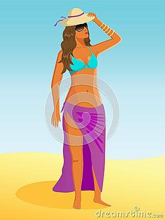 Girl in hat on beach