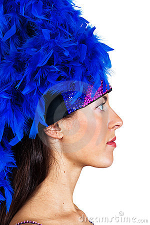 Girl in a hat with feathers