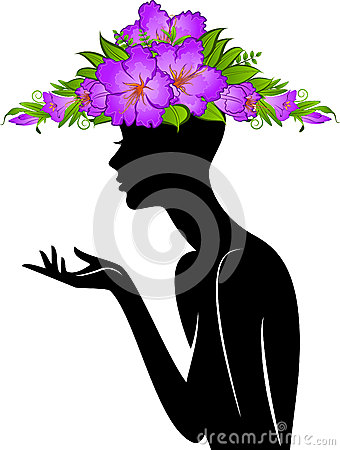 Girl in hat from flowers