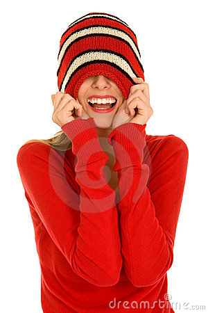 Girl with hat pulled over her eyes