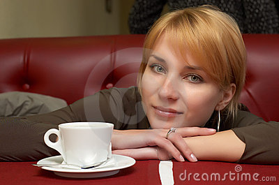 Girl have a break with coffee