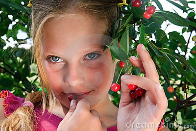 girl have a taste red cherry