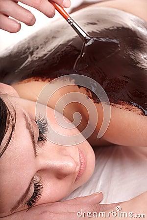 Free Girl Having Chocolate Bodyl Mask . Stock Photos - 14336933