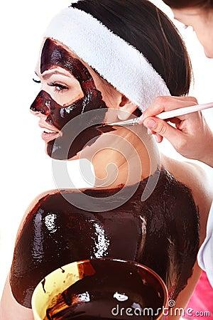 Free Girl Having Chocolate Facial Mask. Royalty Free Stock Photography - 13752227