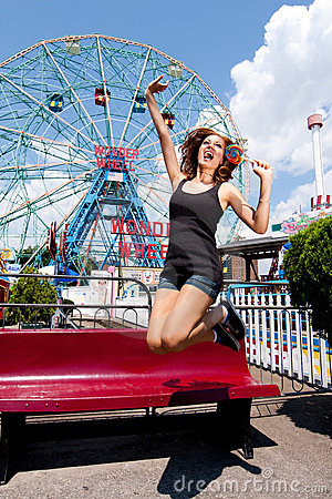 Girl having fun in amusement park