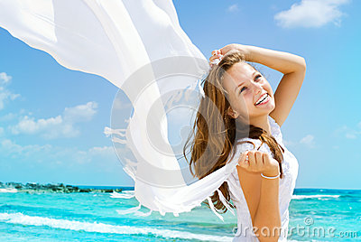 Girl Having Fun on the Beach