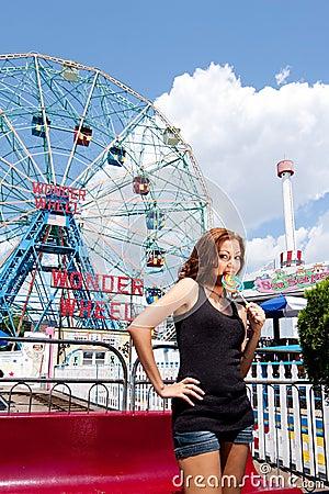 Free Girl Having Fun In Amusement Park Stock Image - 15383591