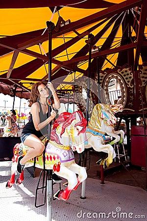 Free Girl Having Fun In Amusement Park Stock Images - 15400324