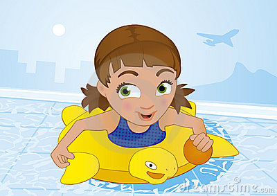 Girl having fun swimming in a pool at summer