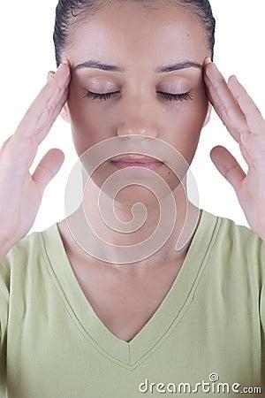 Girl having headache