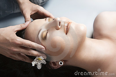 Girl having massage in spa