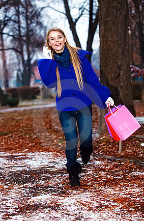 Girl having a walk outdoor in wintertime