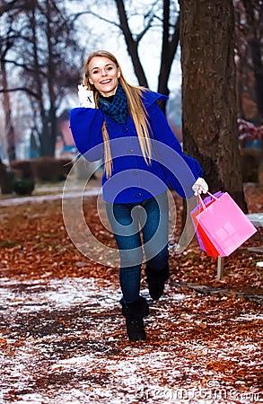 Girl having a walk outdoor in wintertime