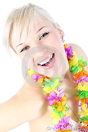 Girl in hawaiian flower