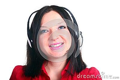 Girl with headphones isolated