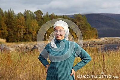 A girl in a headscarf