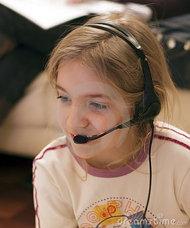Girl And Headset Stock Photo - Image: 3977270