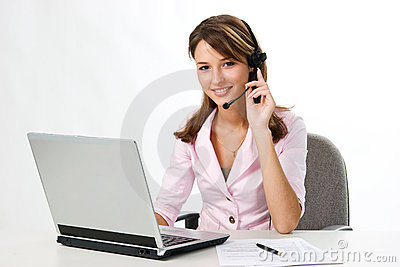 Girl with headset and laptop