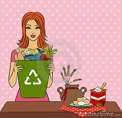 Girl with healthy meal ingredients