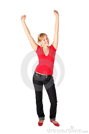 Girl with her arms raised