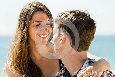 Girl and her boyfriend smiling