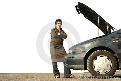 Girl with her broken car