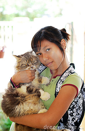 Girl with her cat