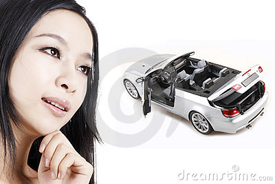 Girl with her dream car