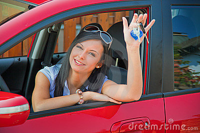 Girl with her first car