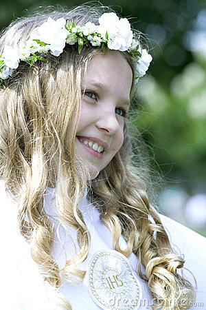 Girl on her first Holy Communion