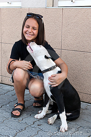 Girl with her four-legged friend