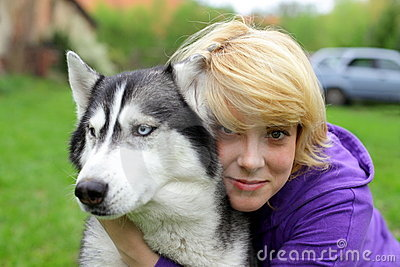 Girl and her friend, siberian husky