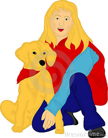 Girl with her golden Retriever