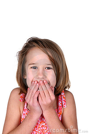 Girl with her hands over her mouth