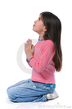 Girl On Her Knees Praying