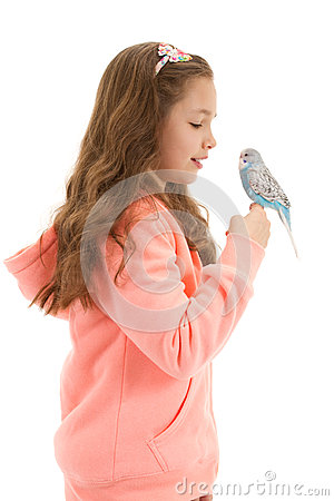 Girl with her pet bird budgerigar