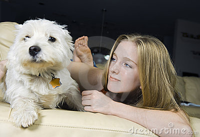 Girl and Her West Highland White Terrier