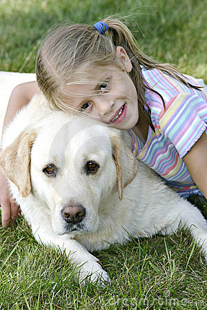 Girl and her Yellow Lab