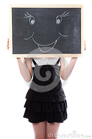 Girl hid behind a blackboard with the smile image