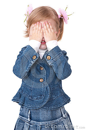 Girl hide face under hands
