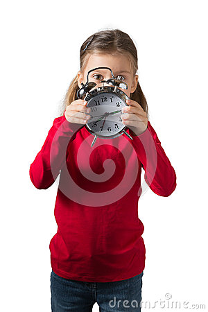 Girl Hiding Her Face Behind Clock