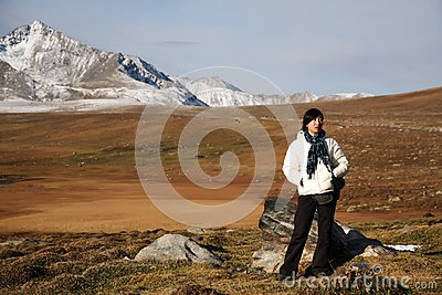Girl in high-elevation mountain