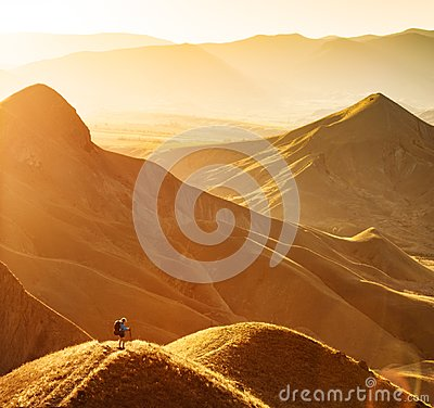 Free Girl Hiker Contemplate The Mountain Valley Stock Photography - 120206562