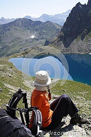 Girl hiker on a rest