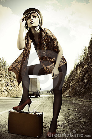 Free Girl Hitchhiking With Suitcase Stock Image - 15237111